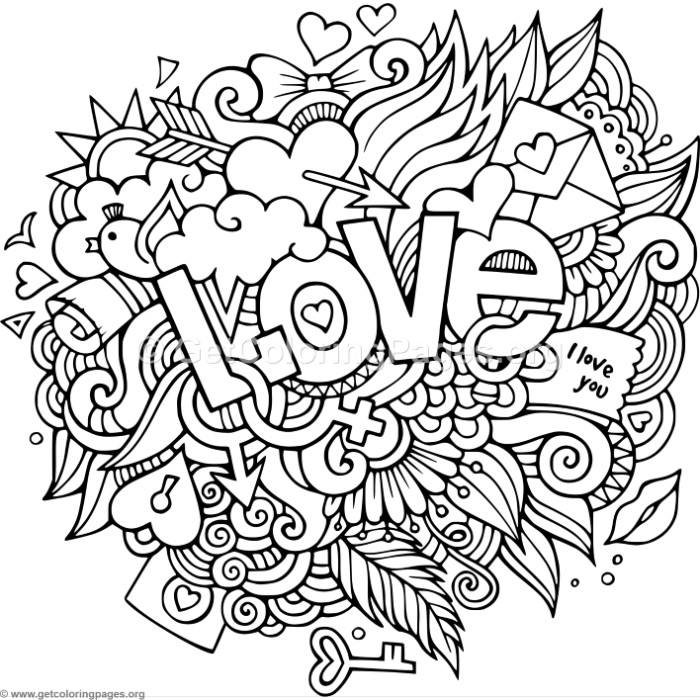 Love Zentangle Art 1 Coloring Pages