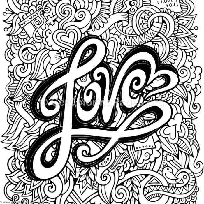Love Zentangle Art 2 Coloring Pages GetColoringPages