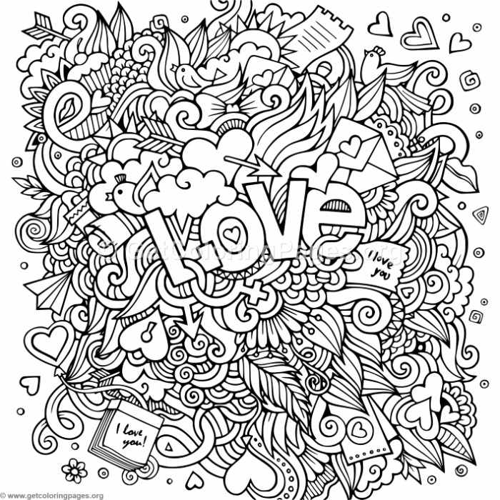 Love Zentangle Art 5 Coloring Pages Getcoloringpages Org