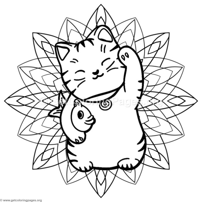 Lucky Cat Mandala Coloring Pages Getcoloringpages Org