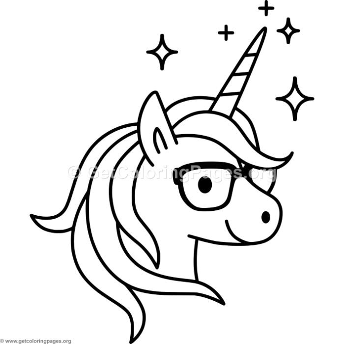 Unicorn with Glasses Coloring Pages GetColoringPages