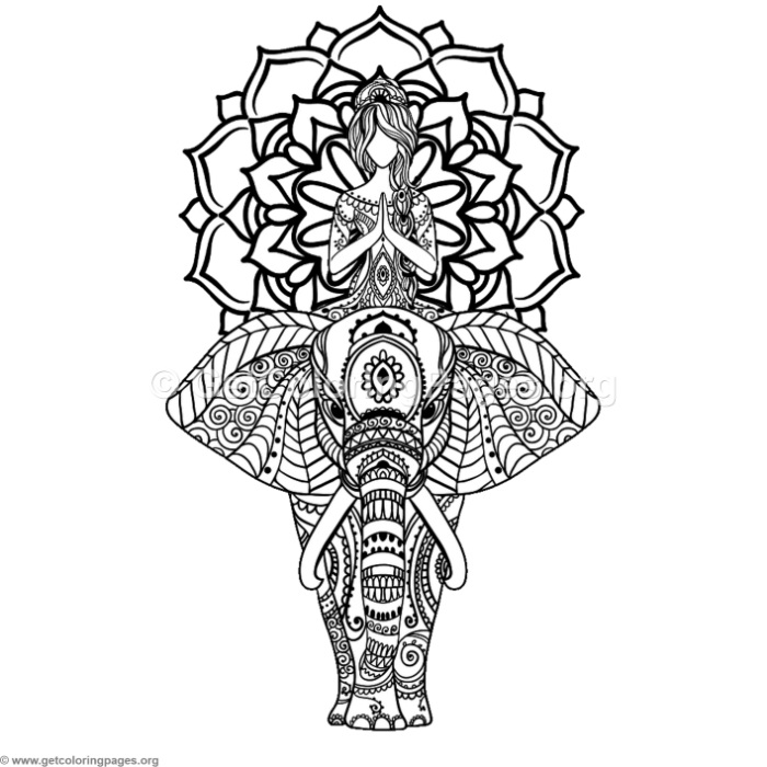 Yoga and Elephant Mandala Coloring