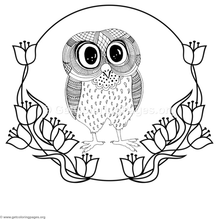 Zentangle Cute Big Eyes Owl Coloring Pages