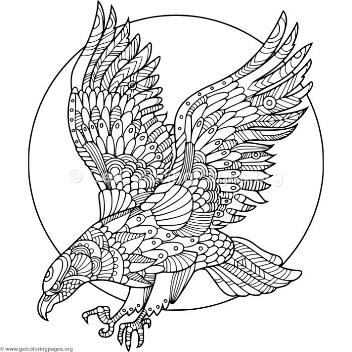 Zentangle Eagle Coloring Pages