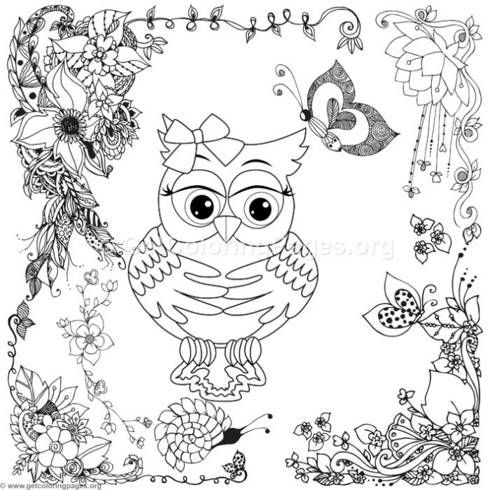 Zentangle Lovely Owl In The Garden Coloring Pages