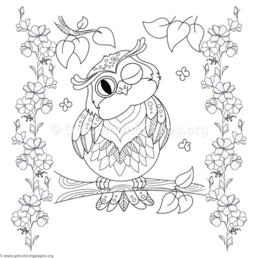 owl in a tree coloring page - baby owl coloring pages to print