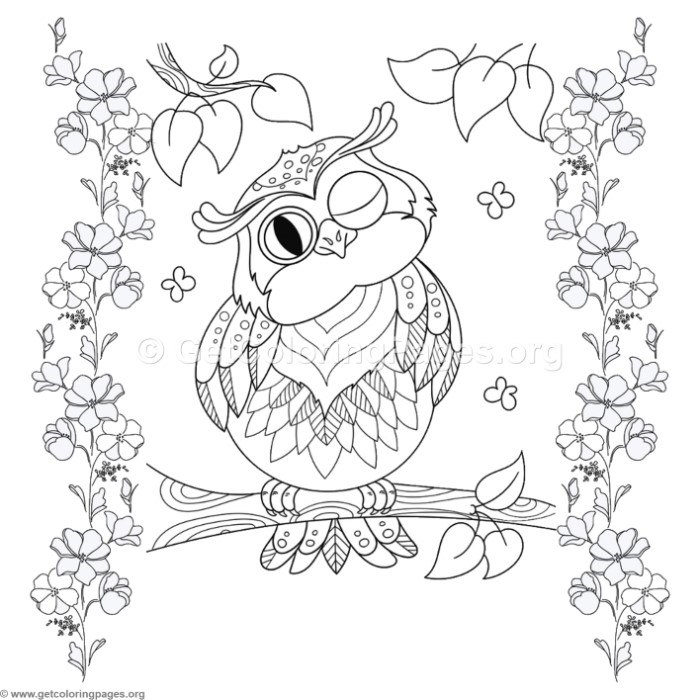 Amazing Zentangle Owl On A Tree Coloring Pages With Tree