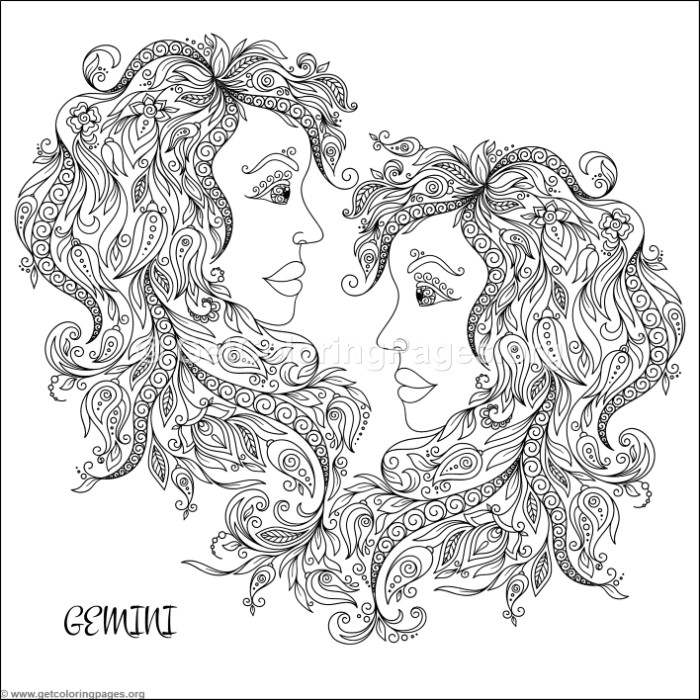 Gemini Zodiac Sign Coloring Pages - Clipart Library •