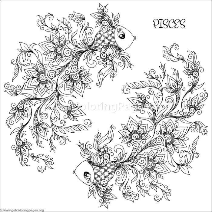 Zodiac Sign Pisces Coloring Pages