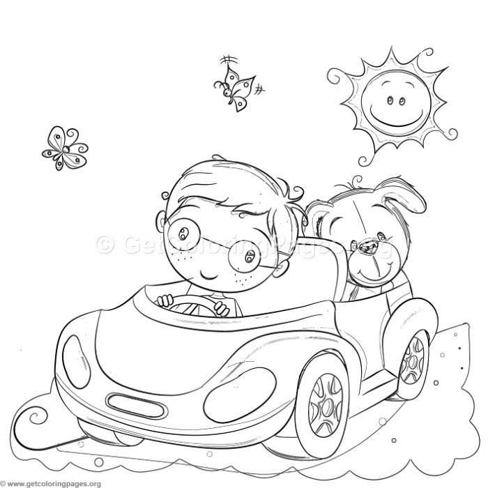Boy And Dog Driving Coloring Pages