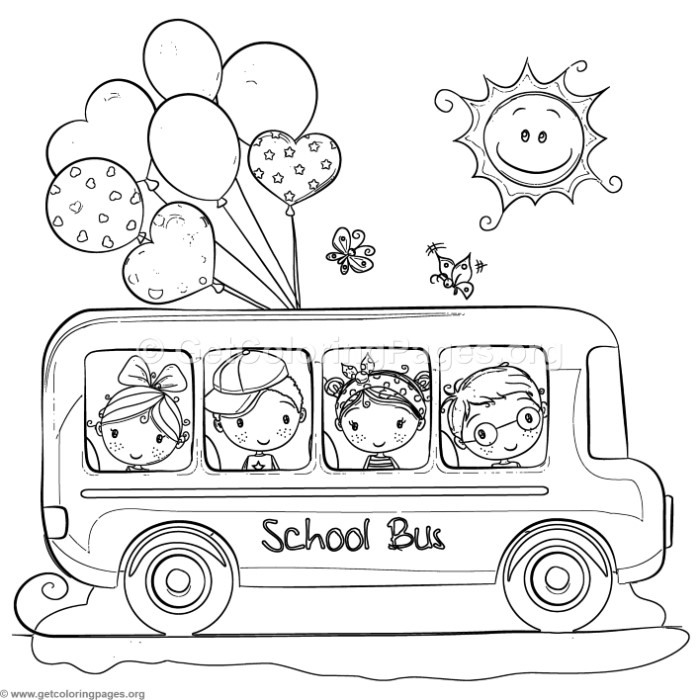 Children School Bus Coloring Pages
