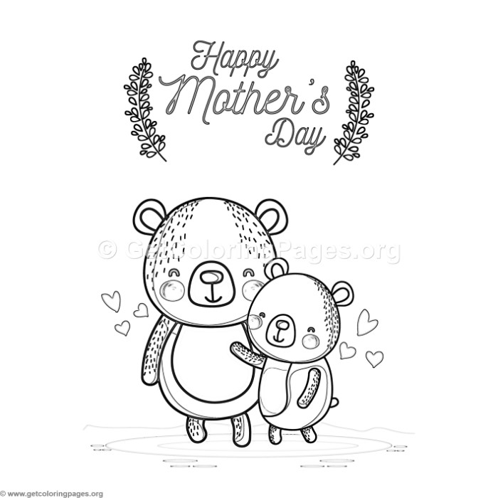 Cute Cartoon Bear Happy Mother s Day Card Coloring Pages GetColoringPages