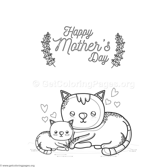 Cute Cartoon Cat Happy Mothers Day Card Coloring Pages