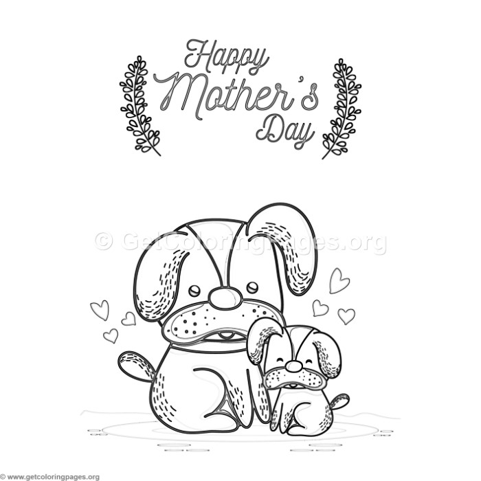 Cute Cartoon Dog Happy Mother S Day Card Coloring Pages