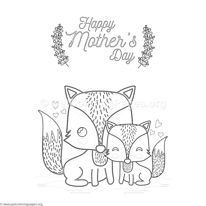 cute cartoon fox happy mother s day card coloring pages. Black Bedroom Furniture Sets. Home Design Ideas