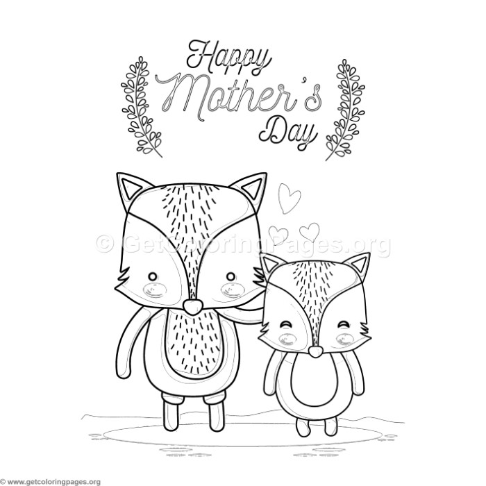 Cute Cartoon Foxes Happy Mother S Day Card Coloring Pages