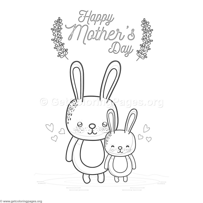 Cute Cartoon Rabbit Happy Mother s Day Card Coloring Pages