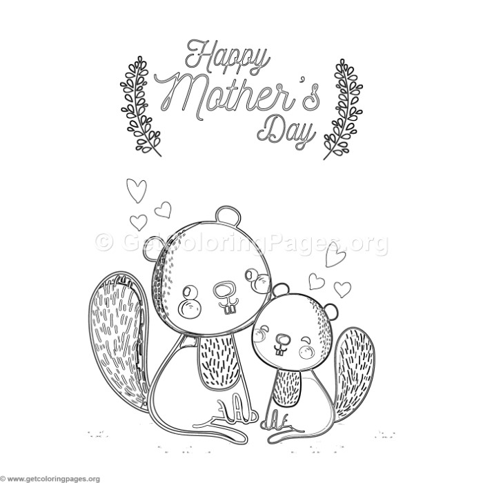 Cute Cartoon Squirrel Happy Mothers Day Card Coloring Pages