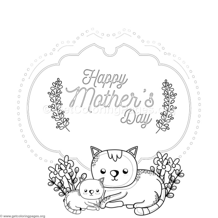 Cute Cats Mother\'s Day Card Coloring Pages – GetColoringPages.org