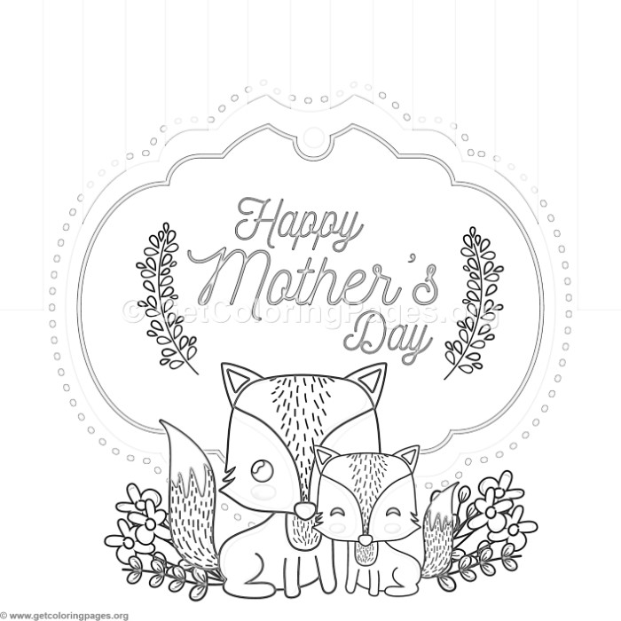 Cute Fox Mother s Day Card Coloring Pages