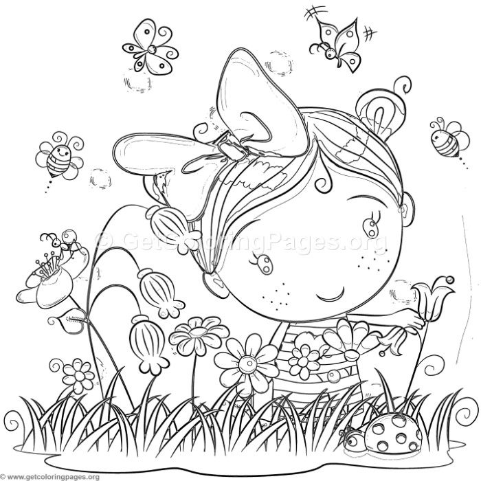 Cute Little Girl In The Garden Coloring Pages