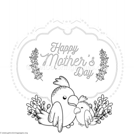 cute parrot mothers day card coloring pages