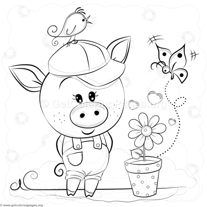 Cute Piggy and Flower Pot Coloring Pages
