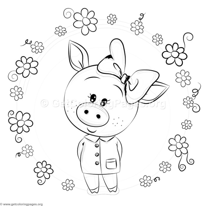 Cute Piggy and Flowers Coloring Pages GetColoringPages