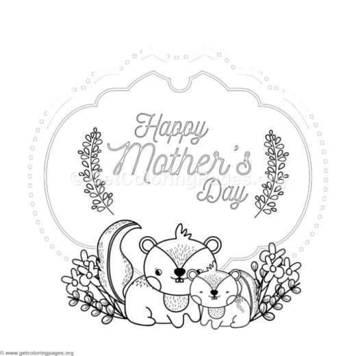 Cute Squirrel Mothers Day Card Coloring Pages
