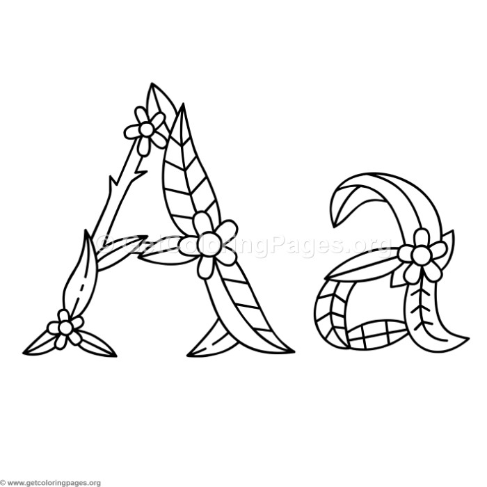 Flower Island Alphabet Letter A Coloring Pages ...