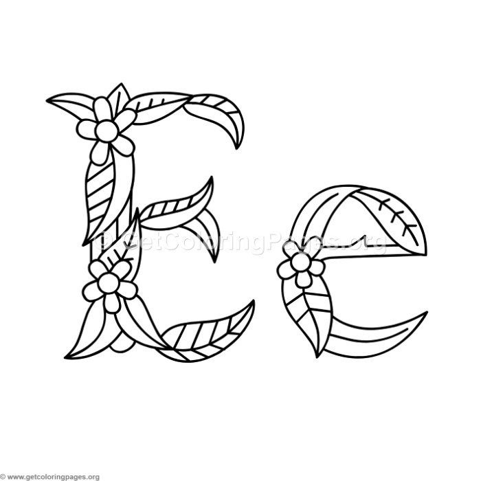 Flower Island Alphabet Letter E Coloring Pages