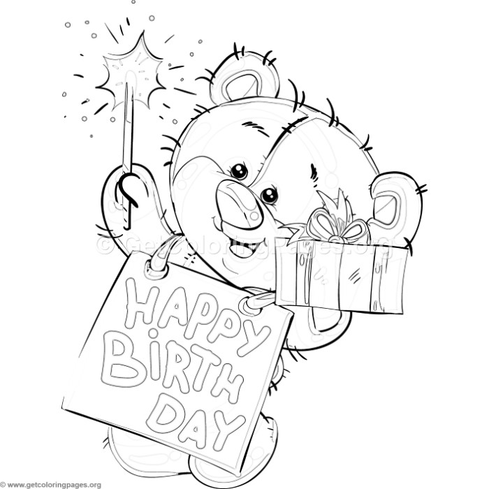 Happy Birthday Teddy Bear Coloring Pages