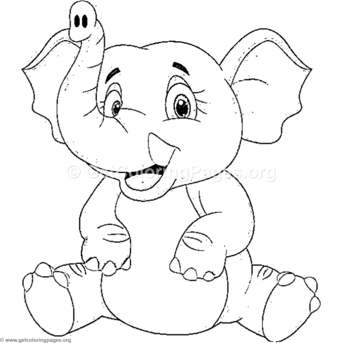 Happy Elephant Sitting Coloring