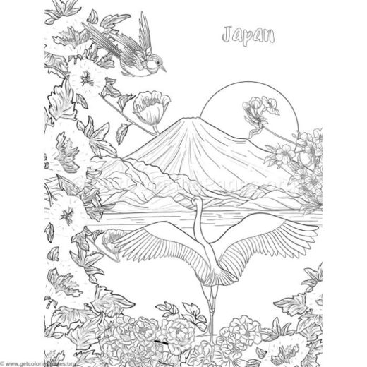 Japanese Painting Fuji Mountain Birds And Flowers Coloring Pages