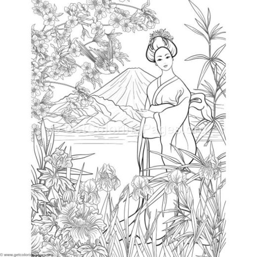 Japanese Painting Geisha Coloring Pages