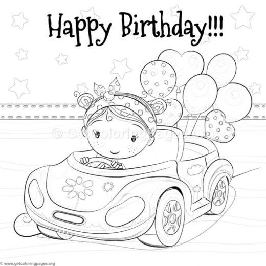 Little Girl Driving A Car And Balloons Coloring Pages