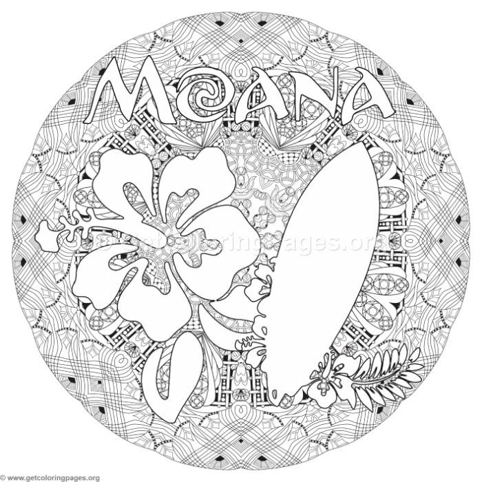 Moana Flower and Surfboard Coloring Pages – GetColoringPages.org