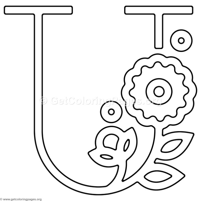 Modern Flower Alphabet Letter U Coloring Pages