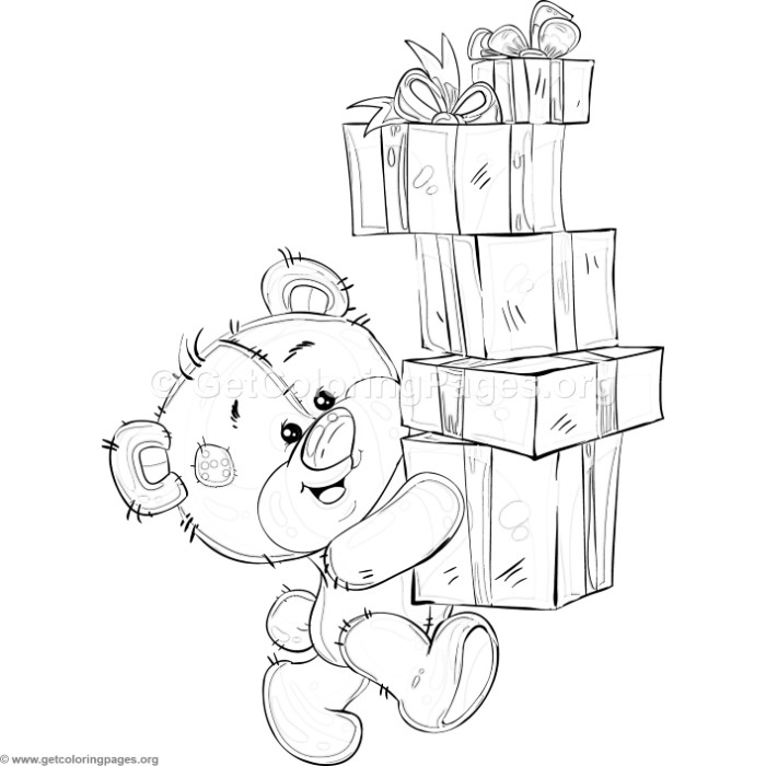 Teddy Bear Gift Boxes Coloring Pages – GetColoringPages.org