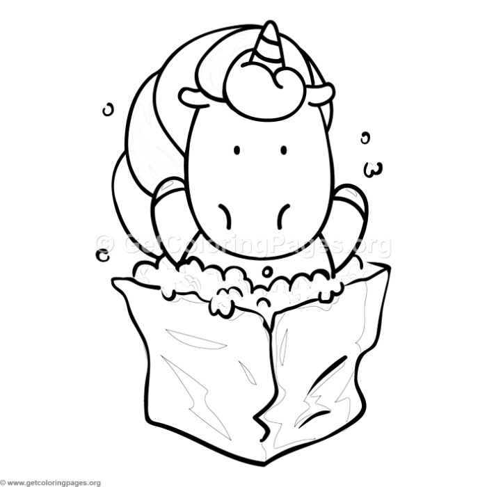 Unicorn And Popcorn Coloring Pages