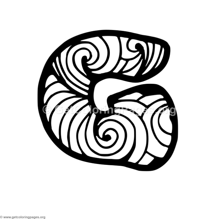 Zentangle Alphabet Letter G Coloring Pages