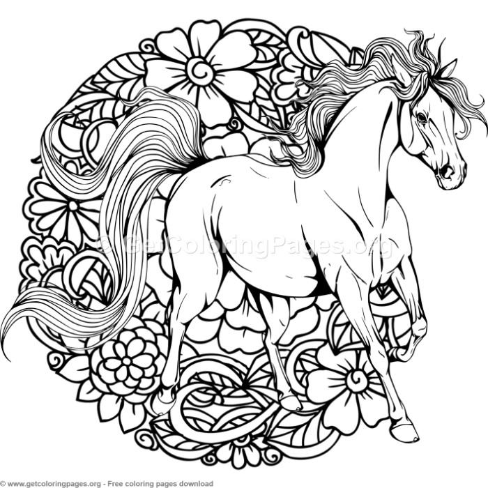 3 Horse Mandala Coloring Pages Getcoloringpages Org