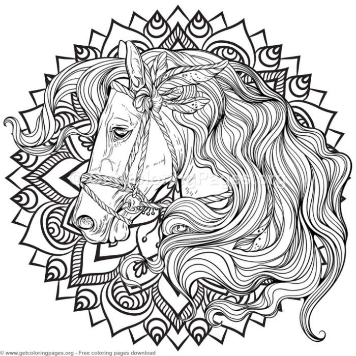 5 Horse Mandala Coloring Pages