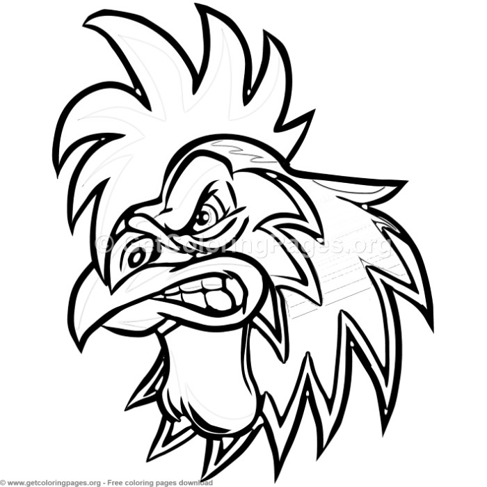 Angry Cartoon Rooster Head Coloring Pages