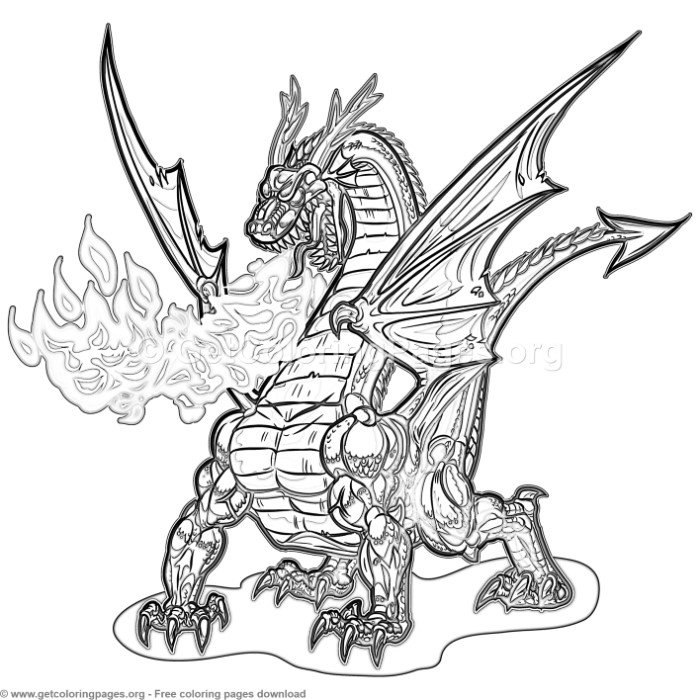 Cartoon Dragon Breathing Fire Coloring Pages