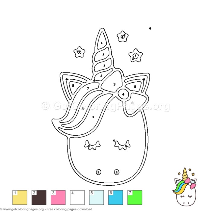 Cute Unicorn Color by Number Coloring Pages ...