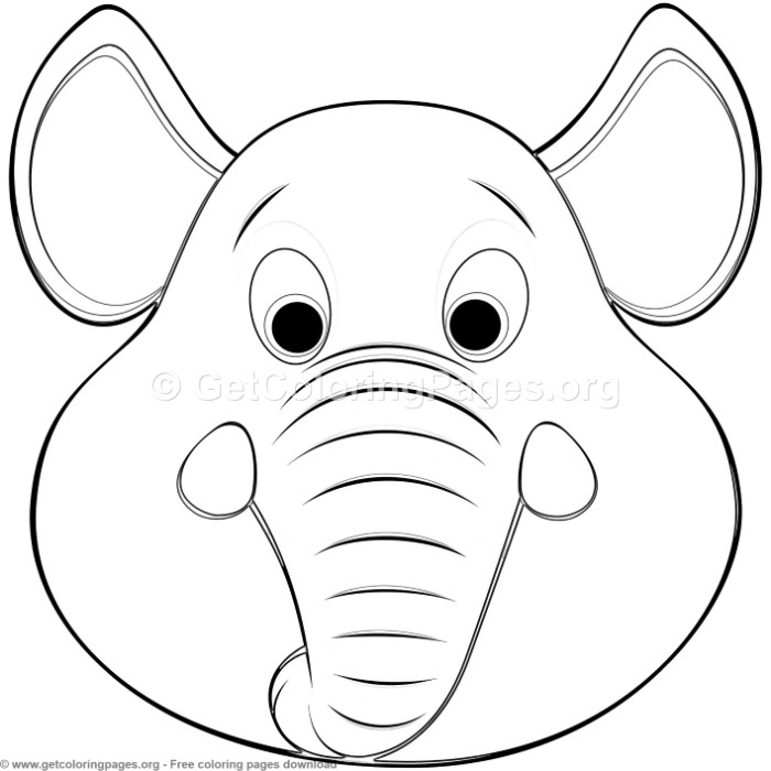 Elephant Animal Face Mask Coloring Pages