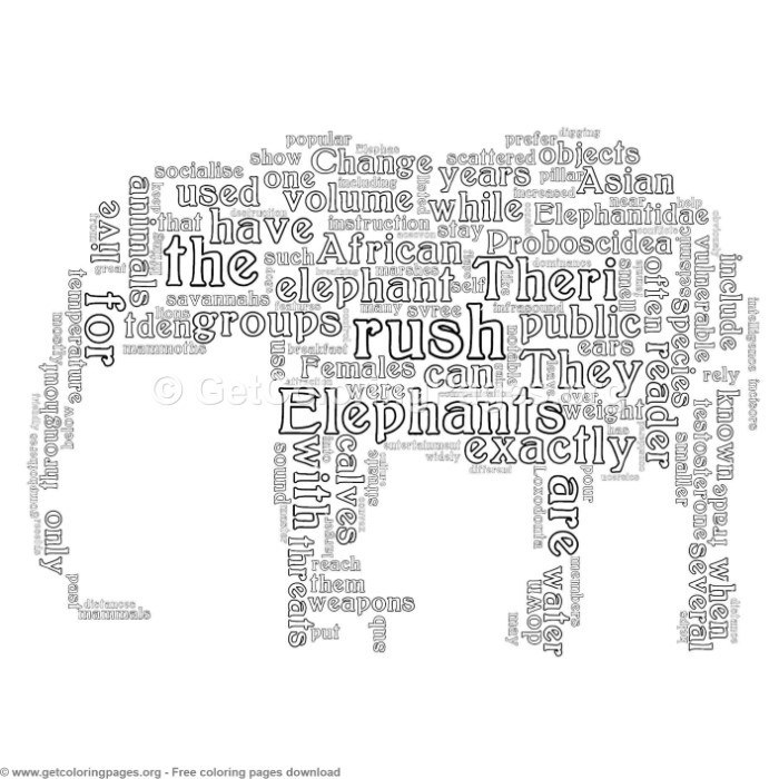 Elephant Word Cloud Animal Shape Coloring Pages