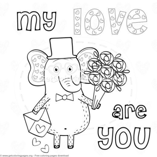 Elephant In Love My Coloring Pages