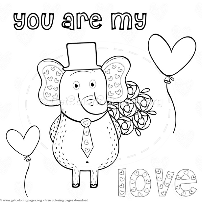 Elephant In Love You Are My Heart Coloring Pages